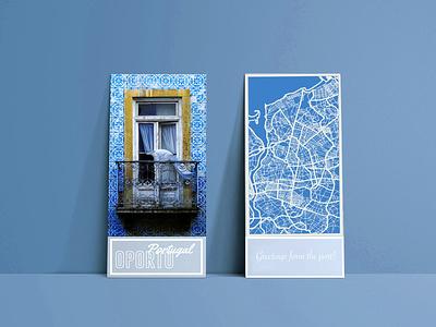 Oporto Postcard dailyui illustration webdesign challenge postcard poster portugal weeklywarmup icon ux design ui