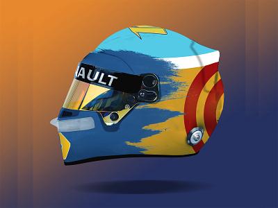 Fernando Alonso 2021 Helmet Design racing 2021 f1digitals helmet design fernando alonso f1 helmet icon ux logo dailyui webdesign design ui