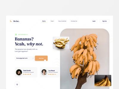 Banana Landing Page Concept. feedback yellow banana clean product website appdesign layout landingpage ux ui web design