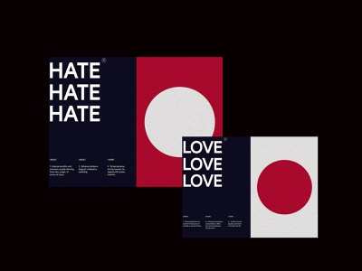 Love & Hate — Shape and Grid exploration. shape clean branding whitespace graphicdesign graphic minimal grid typography color simple design layout