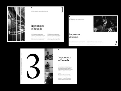 Importance of Sounds —  Layouts product blackandwhite whitespace branding grid layout clean ux minimal ui web design art direction simple modern design art photogrpahy typography