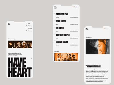 Have Heart — Mobile, Header, Team, About + Color art direction blackandwhite designart digital typography grids mobile modern simple product grid website branding ux clean minimal ui layout web design