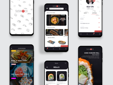SushiCo Redesign - Food App iphone vector typography design logo icon interface app phone restaurant sushi food app food ux ui mobile app mobile ui mobile