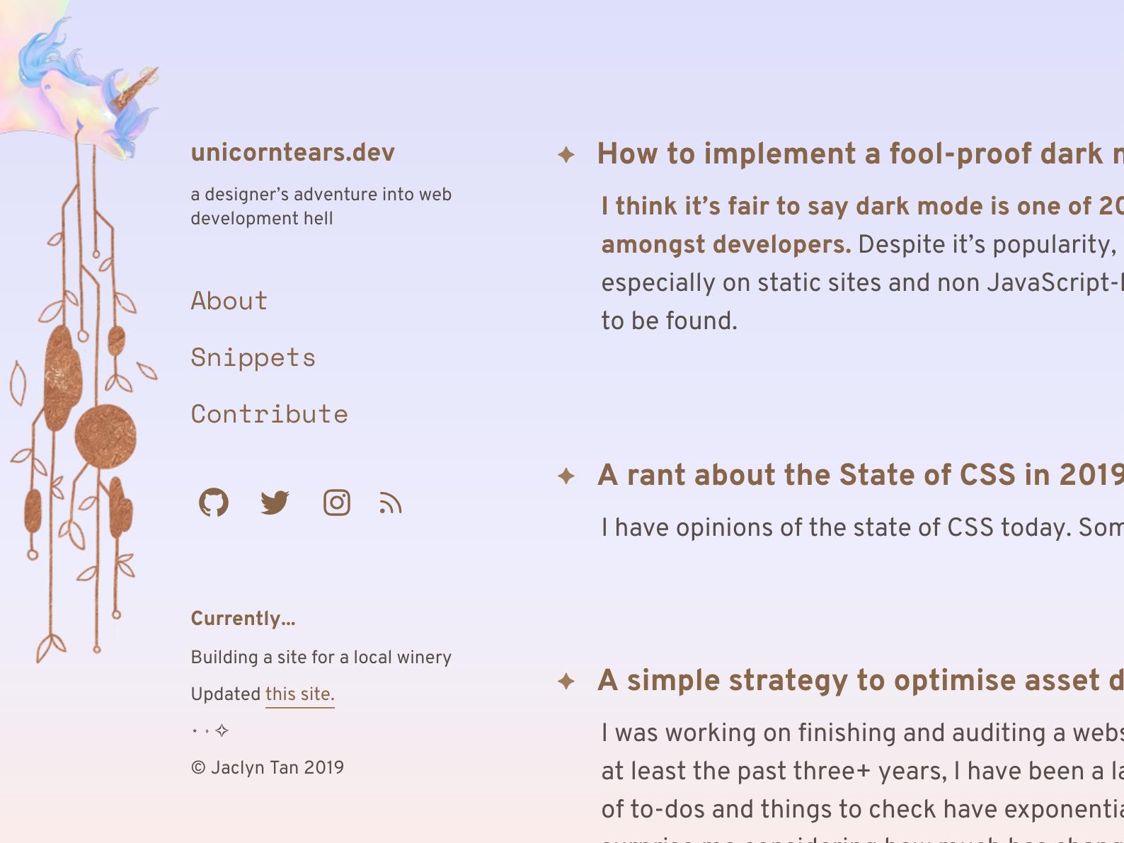 unicorntears.dev aesthetic webdev personalsite blog webdesign design digital pastel