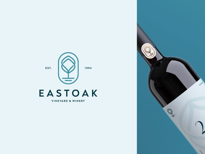 Eastoak tree house winery vineyard oak wine tourism nature tree branding minimalist geometric logotype icon symbol mark logo