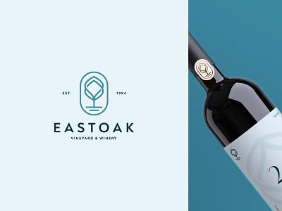 Eastoak tree house winery vineyard oak wine tourism nature tree branding minimalist geometric logotype icon symbol mark logo