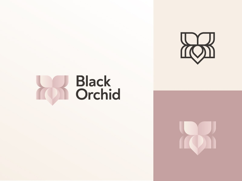 black orchid modern logo with feminine colors
