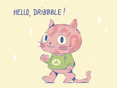 Hello, Dribbble! web app minimal animal icon flat vector character design cute illustration hello dribbble cat dribbble drawing design debut character