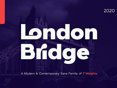 London Bridge - Modern Sans Font Family logo font branding lettering typeface design font design modern typeface sans serif font graphic design design modern font bold font geometric font sans serif sanserif sans typefaces typeface font family fonts font
