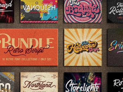 Retro Script Fonts font design fonts font retro design 70s script fonts script font graphic design design font bundle fonts bundle typefaces typeface typography vintage fonts vintage font vintage retro fonts retro font retro