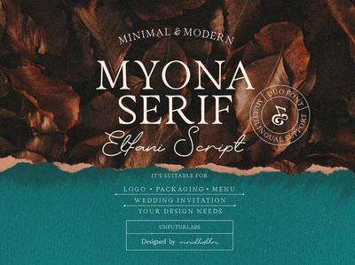 Myona Serif font & Elfani Script Font + Extras