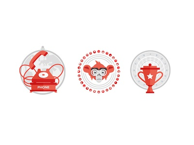 icons for a presentation icon phone monkey cup flat