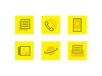 Icons for QR code reader icons photo yellow print phone