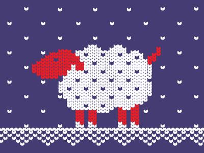 Christmas postcard sheep christmas new year knitting