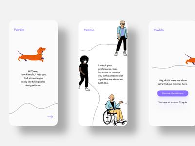 Dog Dating App Onboarding Screens illustration web ui design