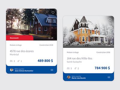 Real Estate Card house card web ux ui real estate design website photoshop adobe