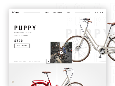 Roar Bikes // Bike Page vintage modern website design xd website ux ui photoshop mobile logo interface interaction design branding bike bicycle