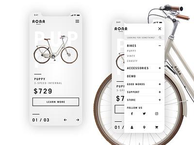 Roar Bikes // Mobile homepage menu website design website xd vintage ux ui photoshop modern mobile ui mobile design mobile logo interface interaction design branding bike bicycle