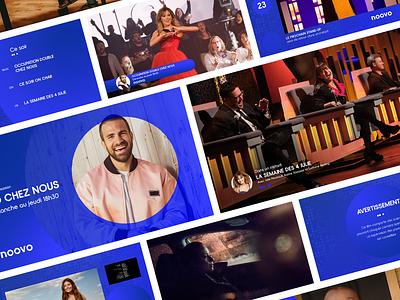 Noovo // TV Channel Brand icon fun laugh artist blue design network screen gradient logo 3d motion uiux ux ui typography dots tv brand 2020