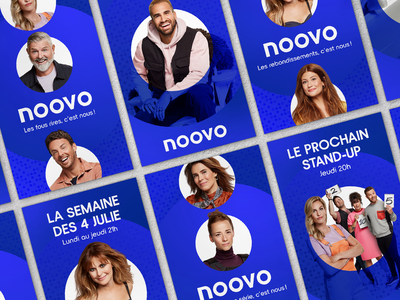 Noovo // Launching Campaign Posters round brand design fun 2020 motion advertising typography dots network blue campaign marketing poster artist logo tv photoshop branding ui design