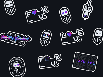 BAD FTLV.   Stickers heart glasses online shop finger cool expression disco love photoshop sticker typography illustration logo branding design