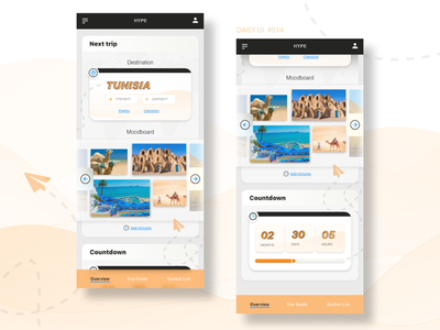 Daily UI #014 - Countdown Timer - Travel App