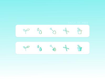DAILY UI #055   Icon Set gardening iconography 055 daily ui 055 icon design icon set icons design uiuxdesigner uiux ui design dailyuichallenge uidesign daily 100 challenge dailyui ui