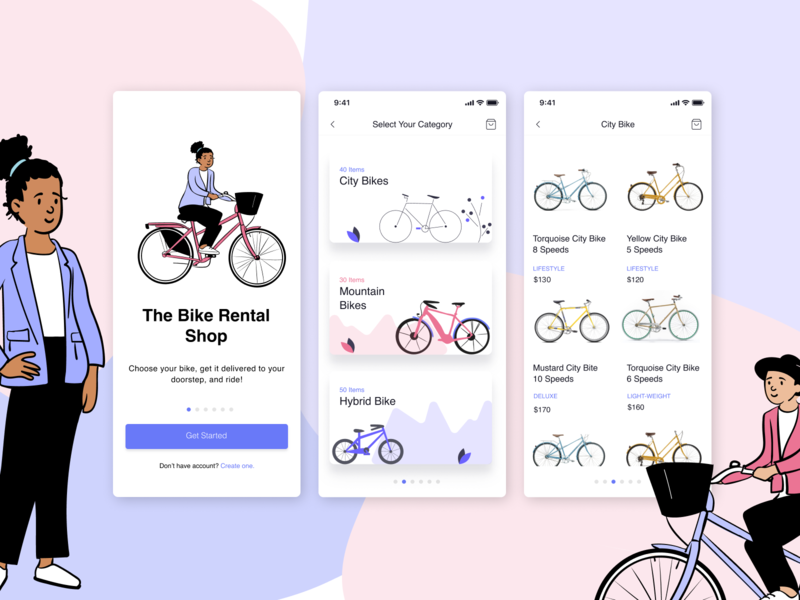Bike Rental Concept UI figmadesign bikes pablo stanley design illustration illustrator branding designer dailyui ui screen onboarding ux ui design ux ui bike ui bike shop bike rental bike app bike rental ui