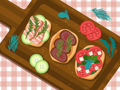 Italian Bruschettas beef salmon tomato food illustration foodart bruschetta vector illustration