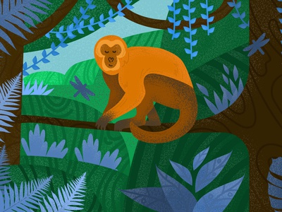Monkey nature orange green blue kids book noise grain leaves forest jungle monkey illustration vector
