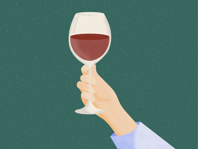 A Glass of Red Wine Please noise grain red wine red hand wine design colour color illustration vector