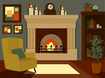 Home evening cozy room fire fireplace armchair noise design vector illustration