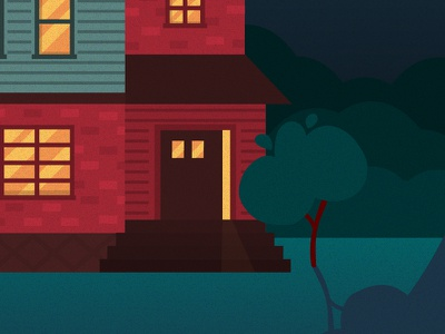 NIGHT HOUSE family nightlife cozy home house night red blue grain noise illustration vector