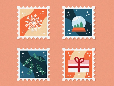CHRISTMAS STAMPS PART I letter christmas stamp stamp christmas tree orange starship stars blue gift snowflake snowball mistletoe grain noise illustration vector
