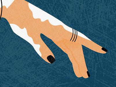SIMILARITY vertigo similarity similar blind snake hand blue orange grain noise illustration vector