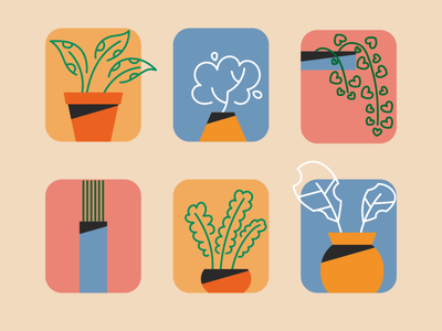 PLANTS contrast simplicity picture simple minimalism abstract pot plants leaves yellow green colour color orange blue illustration vector