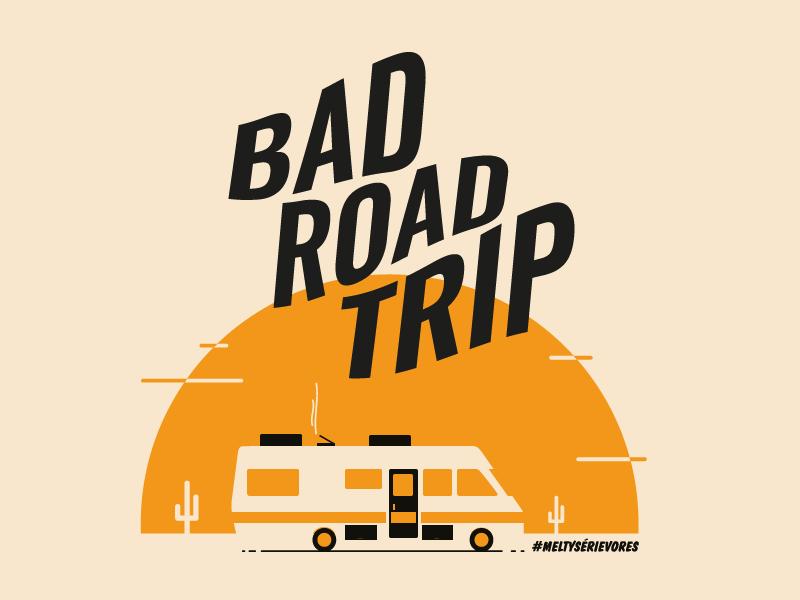 Bad Road Trip flat cactus drug camping sun vector car trip road tv show breaking bad
