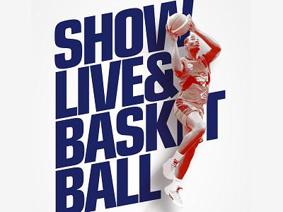 Teasing MBLU ball sport minimalist text jump show live final basketball poster