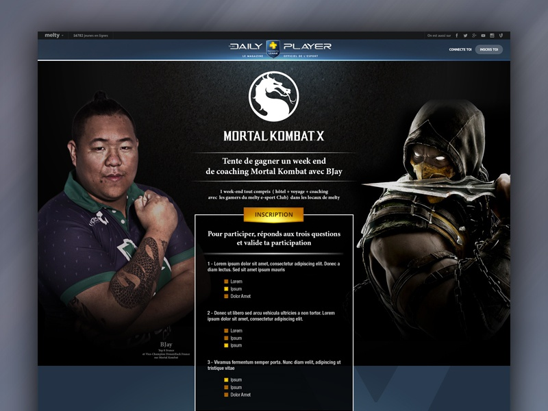 Mortal Kombat X contest for Playstation character event playstation questions form page ui ux kombat mortal