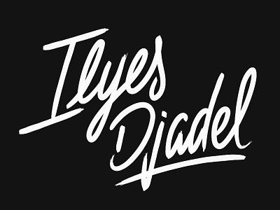 Ilyes Djadel username signature effect brush paint name lettering typography logo