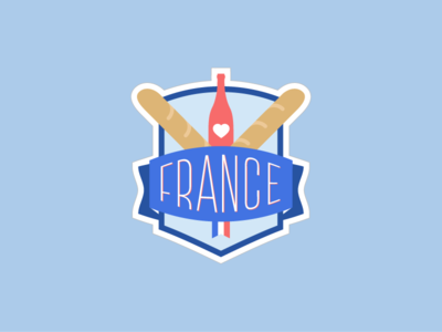 France Logo country retro typo shield heart baguette wine logo france
