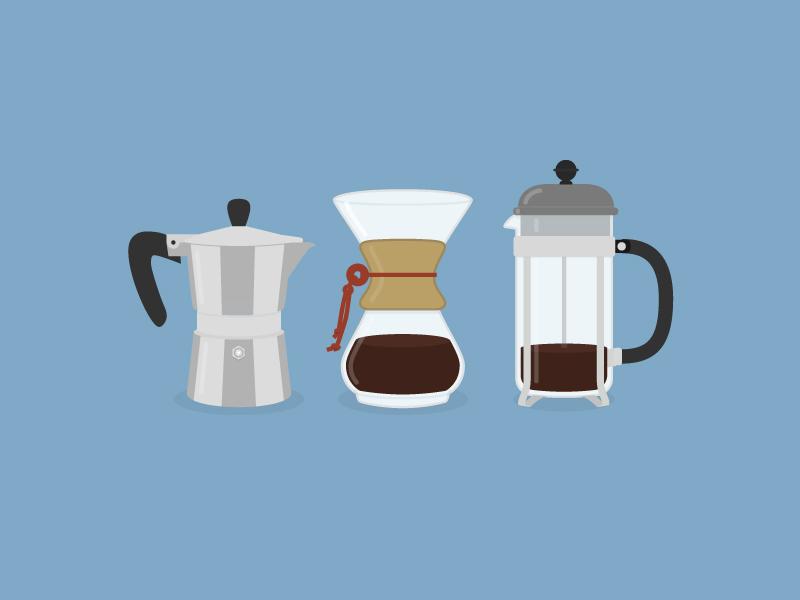 Morning weapons breakfast morning drink press french italian chemex illustration flat coffee