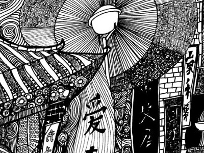 Chinatown  black and white illustration pen and ink london landmarks london illustration london mapping urban illustration black and white line drawing drawing pen drawing ink drawing ink illustration