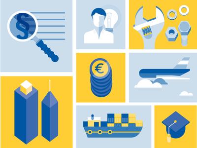 Ceemet Icons illustration ceemet vector illustrator cars industry europe plane ship computer