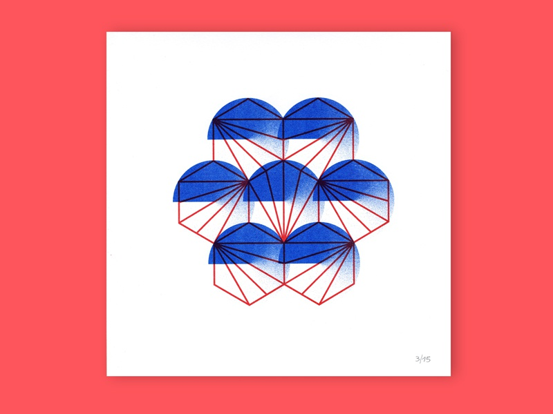 Gemoetry  #1 risograph printing geometry shop blue red minimal riso graphic design illustration