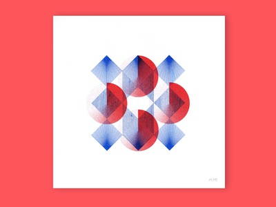 Gemoetry  #2 risograph printing geometry shop blue red minimal riso graphic design illustration
