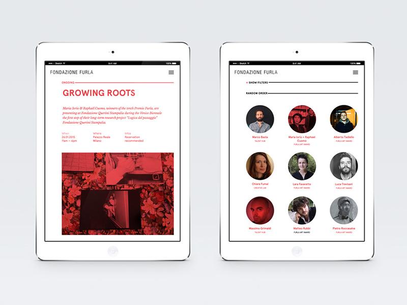 Fondazione Furla Website red white interaction design graphic atto minimal ui ux website furla