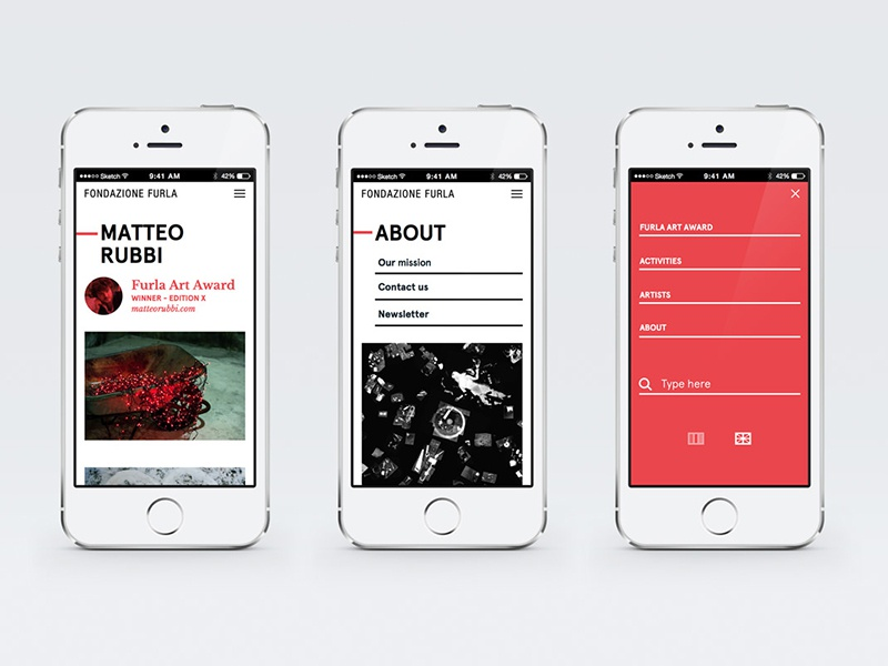 Fondazione Furla Website red white interaction design graphic atto minimal ui ux website furla