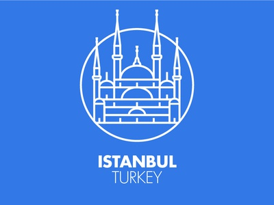 Istanbul monument city illustration graphic outline blu icon pictogram