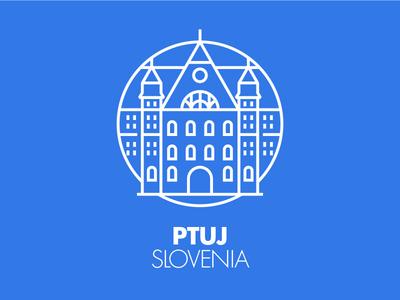 Ptuj monument city illustration graphic outline blu icon pictogram